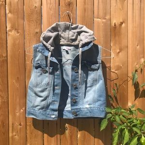 BONGO: distressed denim crop hoodie